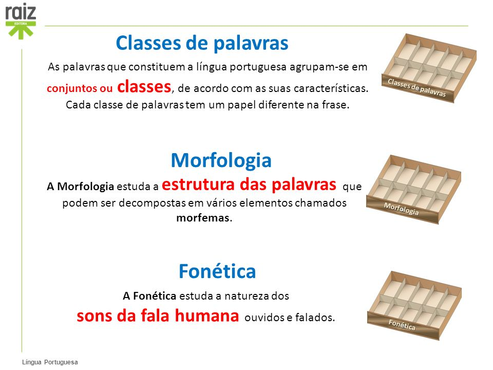 Língua Portuguesa As palavras que constituem a língua portuguesa agrupam-se em conjuntos ou classes, de acordo com as suas características.