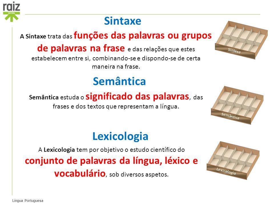 Língua Portuguesa A Sintaxe trata das funções das palavras ou grupos de palavras na frase e das relações que estes estabelecem entre si, combinando-se e dispondo-se de certa maneira na frase.