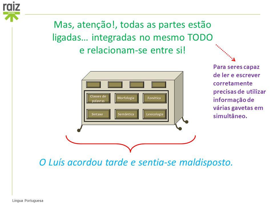 Língua Portuguesa Mas, atenção!, todas as partes estão ligadas… integradas no mesmo TODO e relacionam-se entre si.