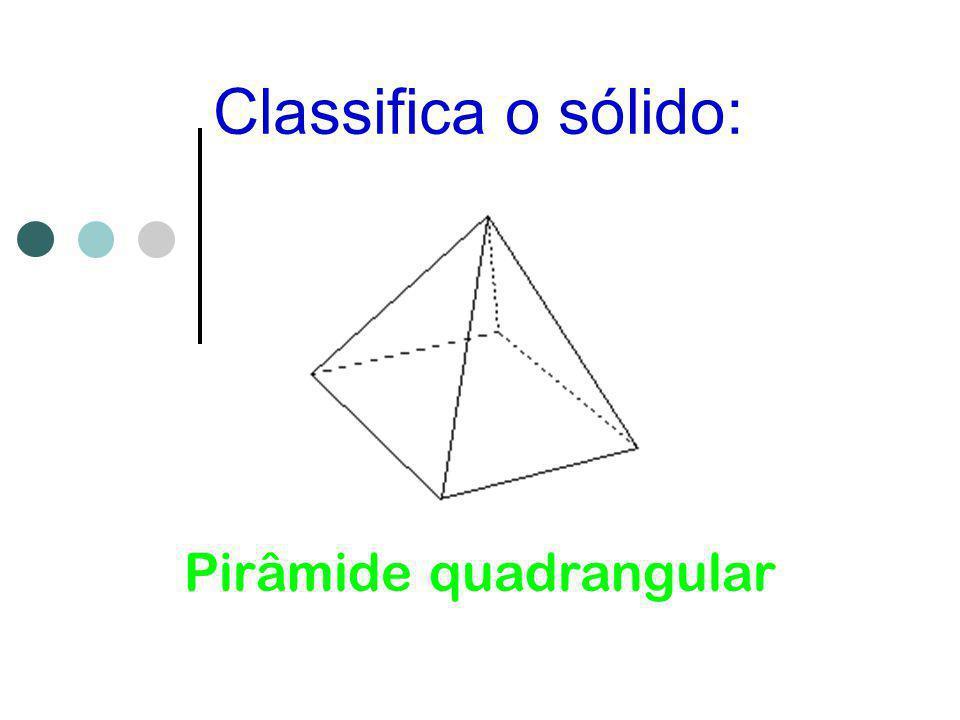 Classifica o sólido: Pirâmide quadrangular