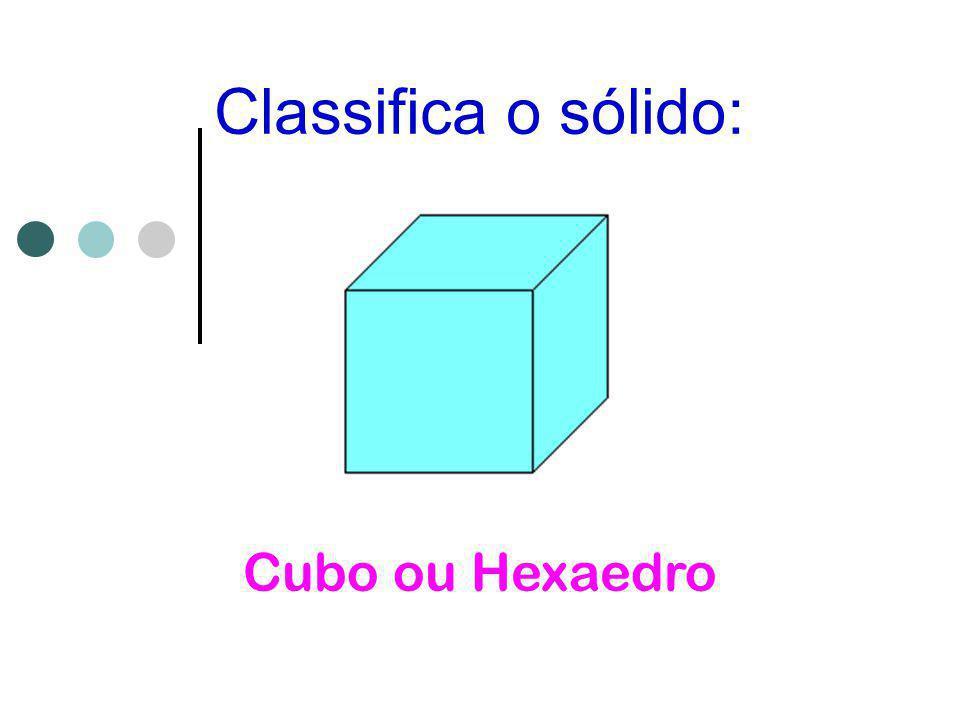 Classifica o sólido: Cubo ou Hexaedro