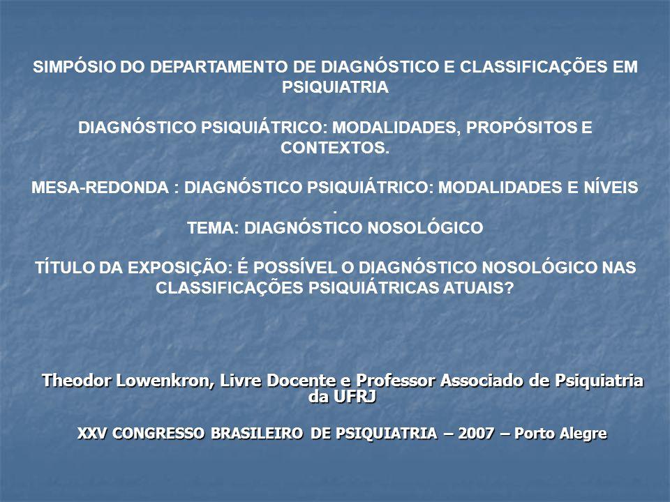 Theodor Lowenkron, Livre Docente e Professor Associado de Psiquiatria da UFRJ XXV CONGRESSO BRASILEIRO DE PSIQUIATRIA – 2007 – Porto Alegre SIMPÓSIO DO DEPARTAMENTO DE DIAGNÓSTICO E CLASSIFICAÇÕES EM PSIQUIATRIA DIAGNÓSTICO PSIQUIÁTRICO: MODALIDADES, PROPÓSITOS E CONTEXTOS.