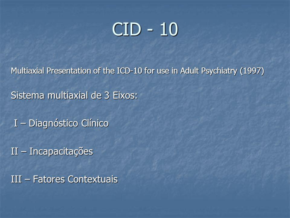 CID - 10 Multiaxial Presentation of the ICD-10 for use in Adult Psychiatry (1997) Sistema multiaxial de 3 Eixos: I – Diagnóstico Clínico I – Diagnóstico Clínico II – Incapacitações III – Fatores Contextuais