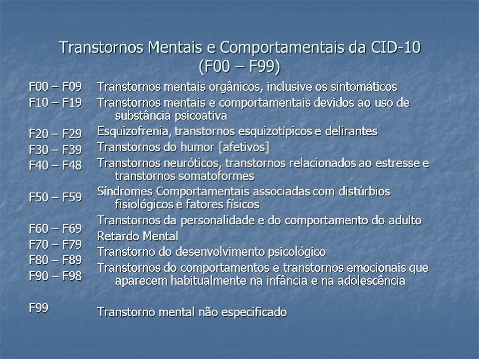 Transtornos Mentais e Comportamentais da CID-10 (F00 – F99) F00 – F09 F10 – F19 F20 – F29 F30 – F39 F40 – F48 F50 – F59 F60 – F69 F70 – F79 F80 – F89 F90 – F98 F99 Transtornos mentais orgânicos, inclusive os sintomáticos Transtornos mentais e comportamentais devidos ao uso de substância psicoativa Esquizofrenia, transtornos esquizotípicos e delirantes Transtornos do humor [afetivos] Transtornos neuróticos, transtornos relacionados ao estresse e transtornos somatoformes Síndromes Comportamentais associadas com distúrbios fisiológicos e fatores físicos Transtornos da personalidade e do comportamento do adulto Retardo Mental Transtorno do desenvolvimento psicológico Transtornos do comportamentos e transtornos emocionais que aparecem habitualmente na infância e na adolescência Transtorno mental não especificado