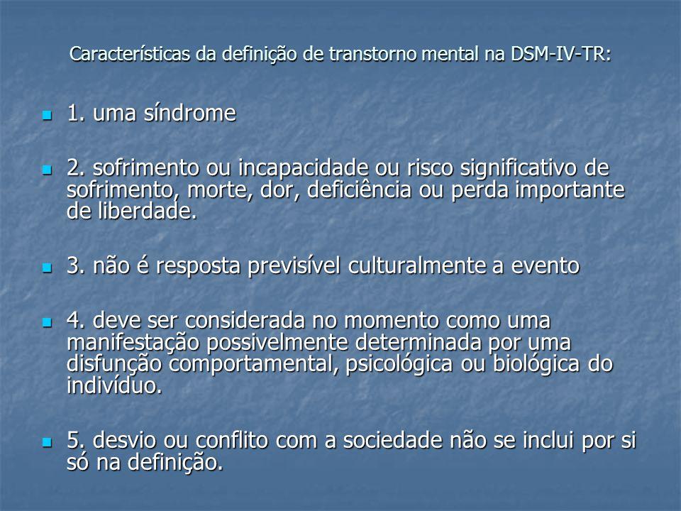Características da definição de transtorno mental na DSM-IV-TR: 1. uma síndrome 1. uma síndrome 2. sofrimento ou incapacidade ou risco significativo d