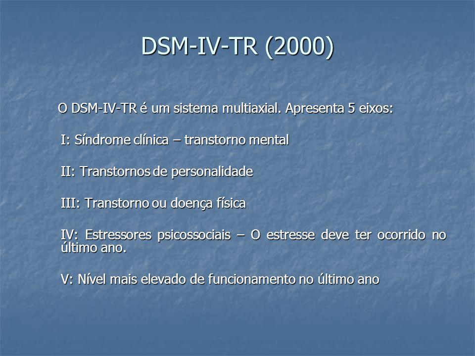 DSM-IV-TR (2000) O DSM-IV-TR é um sistema multiaxial. Apresenta 5 eixos: O DSM-IV-TR é um sistema multiaxial. Apresenta 5 eixos: I: Síndrome clínica –