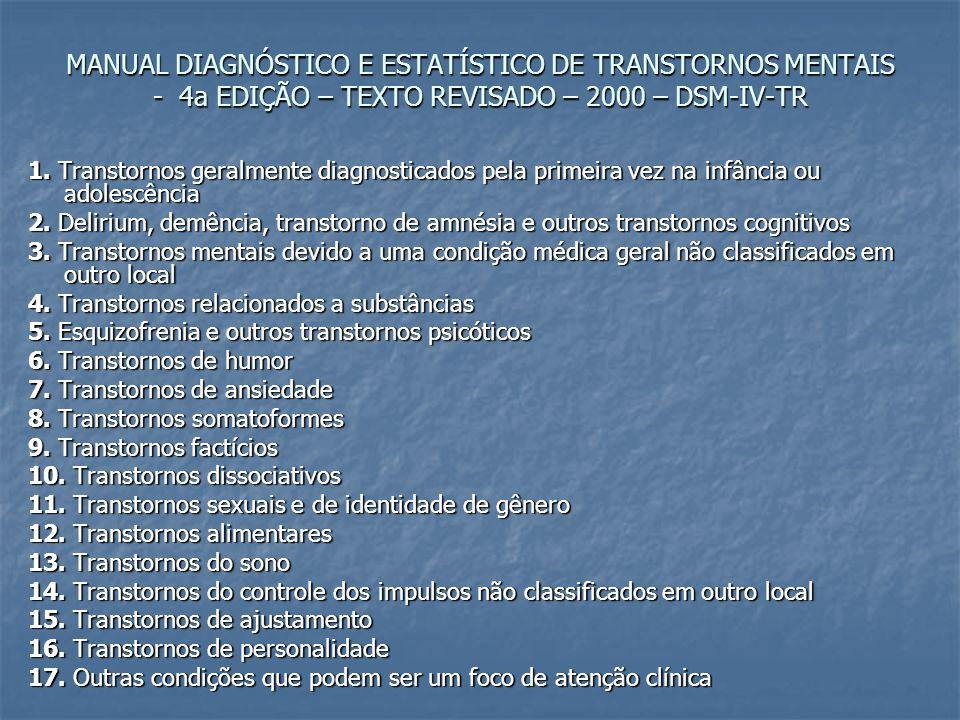 MANUAL DIAGNÓSTICO E ESTATÍSTICO DE TRANSTORNOS MENTAIS - 4a EDIÇÃO – TEXTO REVISADO – 2000 – DSM-IV-TR 1. Transtornos geralmente diagnosticados pela
