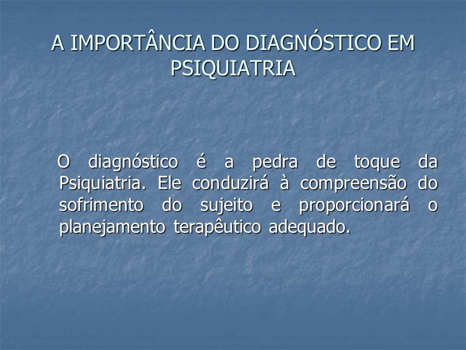 A IMPORTÂNCIA DO DIAGNÓSTICO EM PSIQUIATRIA O diagnóstico é a pedra de toque da Psiquiatria. Ele conduzirá à compreensão do sofrimento do sujeito e pr