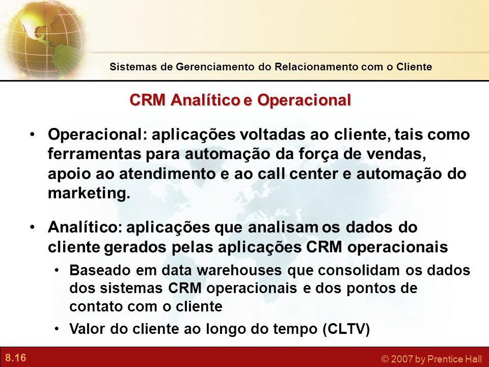 8.16 © 2007 by Prentice Hall Operacional: aplicações voltadas ao cliente, tais como ferramentas para automação da força de vendas, apoio ao atendimento e ao call center e automação do marketing.