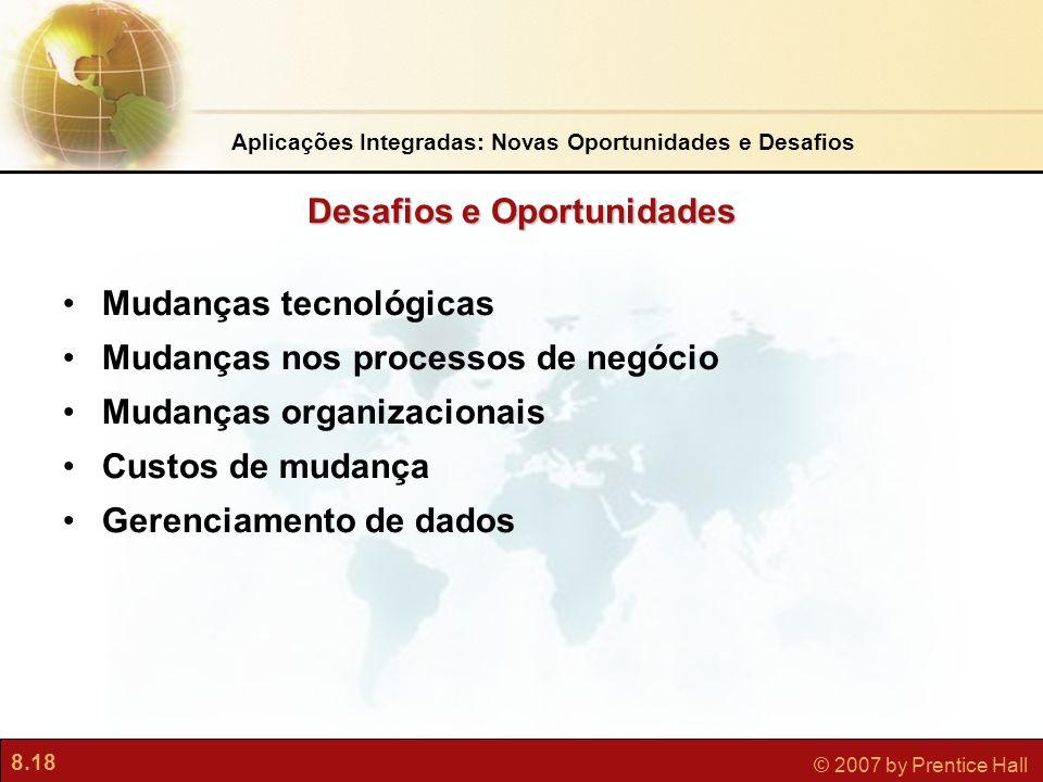 8.18 © 2007 by Prentice Hall Desafios e Oportunidades Mudanças tecnológicas Mudanças nos processos de negócio Mudanças organizacionais Custos de mudança Gerenciamento de dados Aplicações Integradas: Novas Oportunidades e Desafios