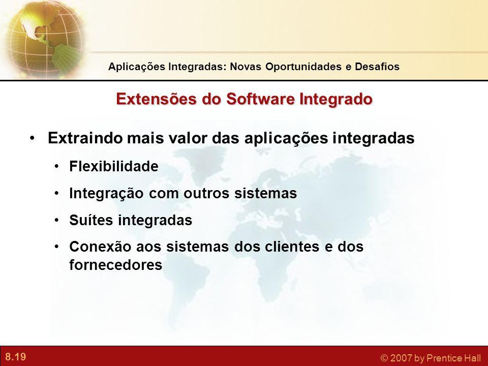 8.19 © 2007 by Prentice Hall Extraindo mais valor das aplicações integradas Flexibilidade Integração com outros sistemas Suítes integradas Conexão aos sistemas dos clientes e dos fornecedores Extensões do Software Integrado Aplicações Integradas: Novas Oportunidades e Desafios