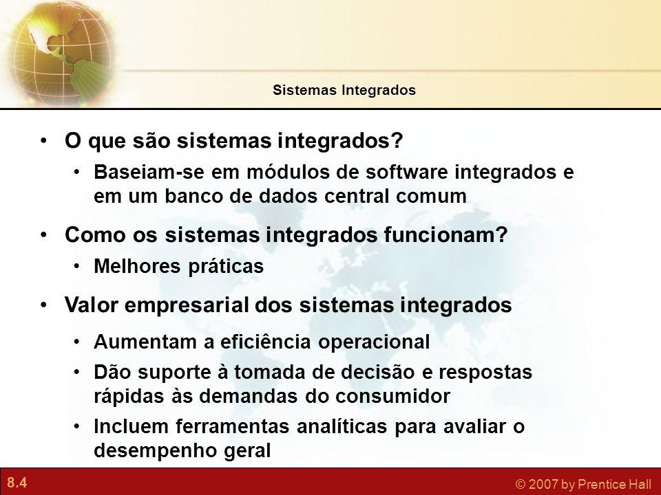 8.5 © 2007 by Prentice Hall Figura 8.1 Os sistemas integrados apresentam um conjunto de módulos de software integrados e um banco de dados central; este permite que os dados sejam compartilhados pelos diferentes processos de negócios e áreas funcionais de toda a empresa.