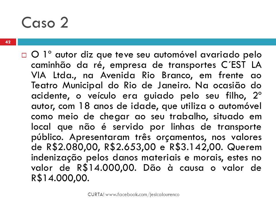 Caso 2 CURTA! www.facebook.com/jesicalourenco 42  O 1º autor diz que teve seu automóvel avariado pelo caminhão da ré, empresa de transportes C´EST LA