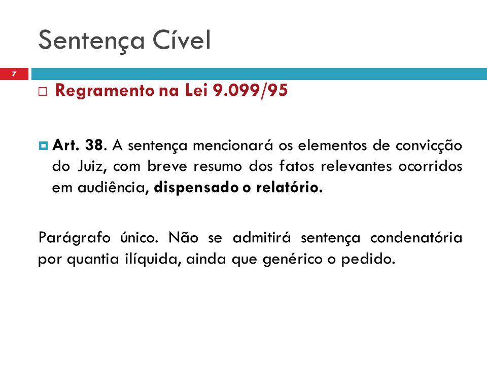 Sentença Cível 7  Regramento na Lei 9.099/95  Art. 38. A sentença mencionará os elementos de convicção do Juiz, com breve resumo dos fatos relevante