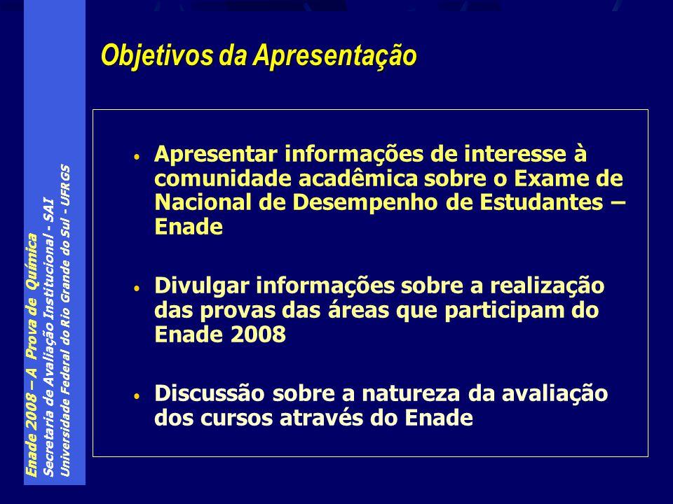Enade 2008 – A Prova de Química Secretaria de Avaliação Institucional - SAI Universidade Federal do Rio Grande do Sul - UFRGS Conteúdos curriculares básicos dos cursos de Química: 3.Específicos - Químico com atribuições tecnológicas 3.1.Operações unitárias da indústria química; 3.2.Princípios de gestão da produção e administração industrial; 3.3.Processos orgânicos e inorgânicos da indústria química; 3.4.Processos bioquímicos na indústria; 3.5.Higiene, normas e segurança do trabalho.