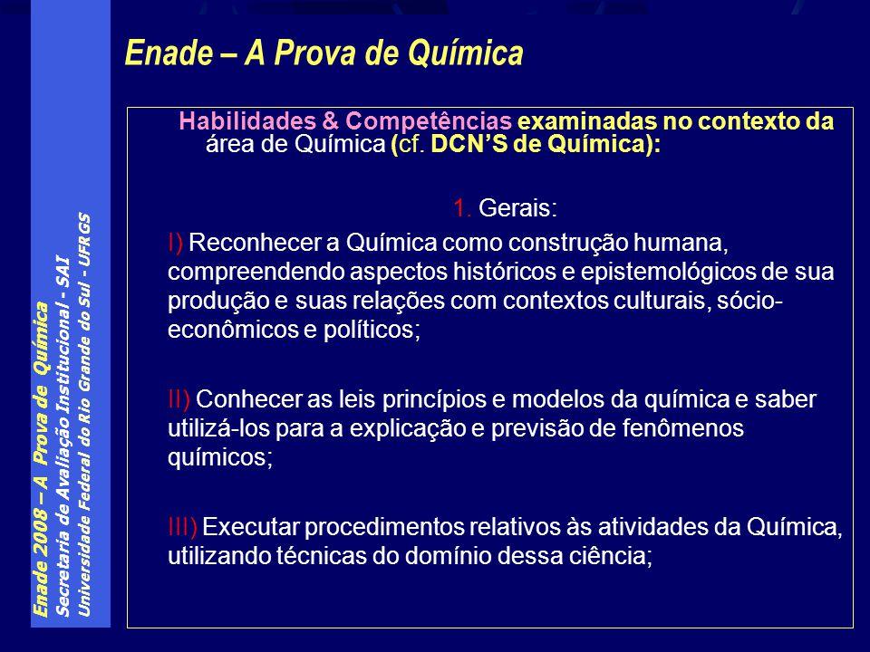 Enade 2008 – A Prova de Química Secretaria de Avaliação Institucional - SAI Universidade Federal do Rio Grande do Sul - UFRGS Habilidades & Competências examinadas no contexto da área de Química (cf.