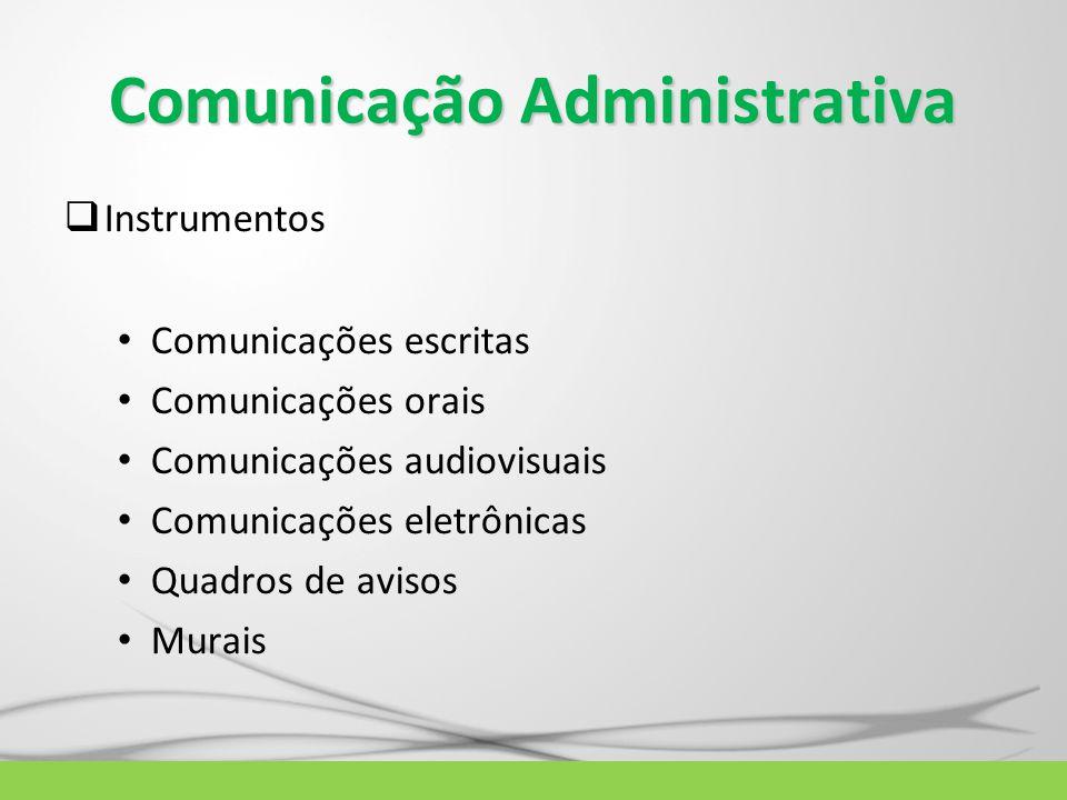 Comunicação Administrativa  Instrumentos Comunicações escritas Comunicações orais Comunicações audiovisuais Comunicações eletrônicas Quadros de aviso
