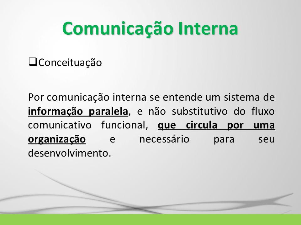 Comunicação Interna  Conceituação Por comunicação interna se entende um sistema de informação paralela, e não substitutivo do fluxo comunicativo func
