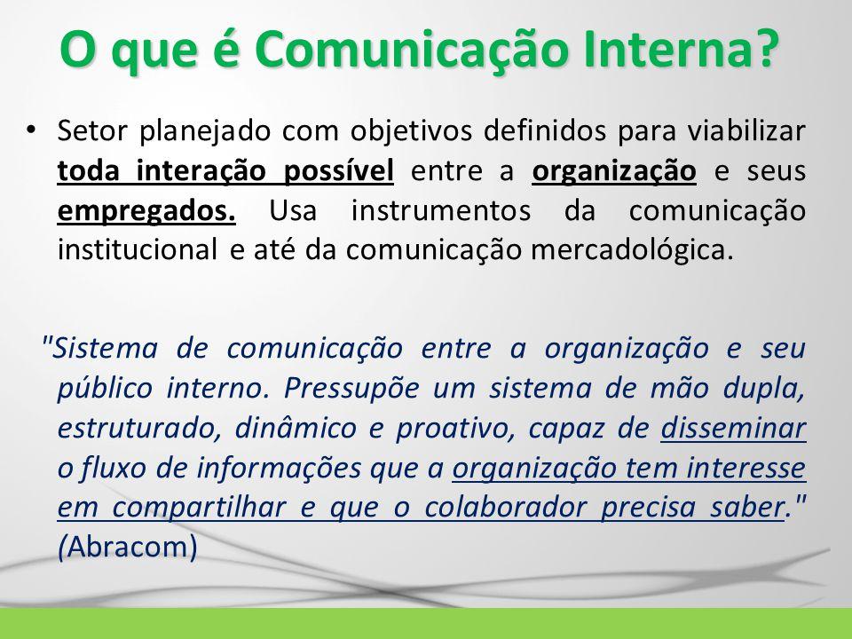 O que é Comunicação Interna? Setor planejado com objetivos definidos para viabilizar toda interação possível entre a organização e seus empregados. Us