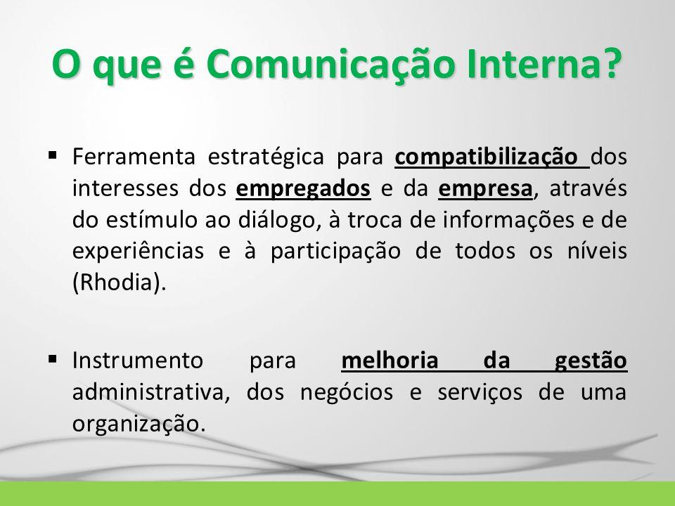 O que é Comunicação Interna?  Ferramenta estratégica para compatibilização dos interesses dos empregados e da empresa, através do estímulo ao diálogo