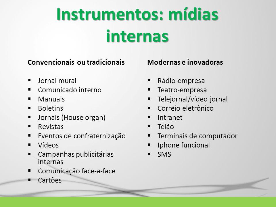 Instrumentos: mídias internas Convencionais ou tradicionais  Jornal mural  Comunicado interno  Manuais  Boletins  Jornais (House organ)  Revista