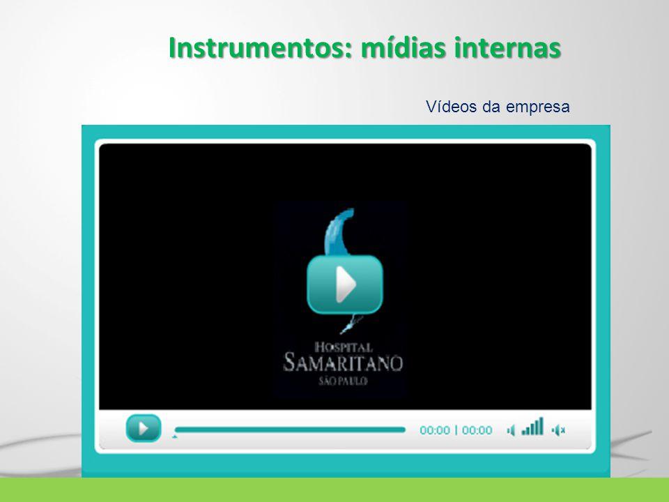 Instrumentos: mídias internas Vídeos da empresa