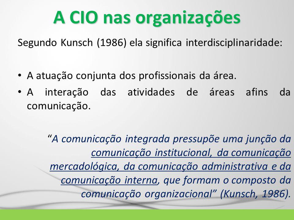A CIO nas organizações Segundo Kunsch (1986) ela significa interdisciplinaridade: A atuação conjunta dos profissionais da área. A interação das ativid