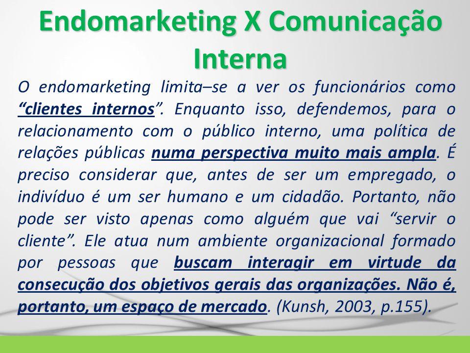 """Endomarketing X Comunicação Interna O endomarketing limita–se a ver os funcionários como """"clientes internos"""". Enquanto isso, defendemos, para o relaci"""
