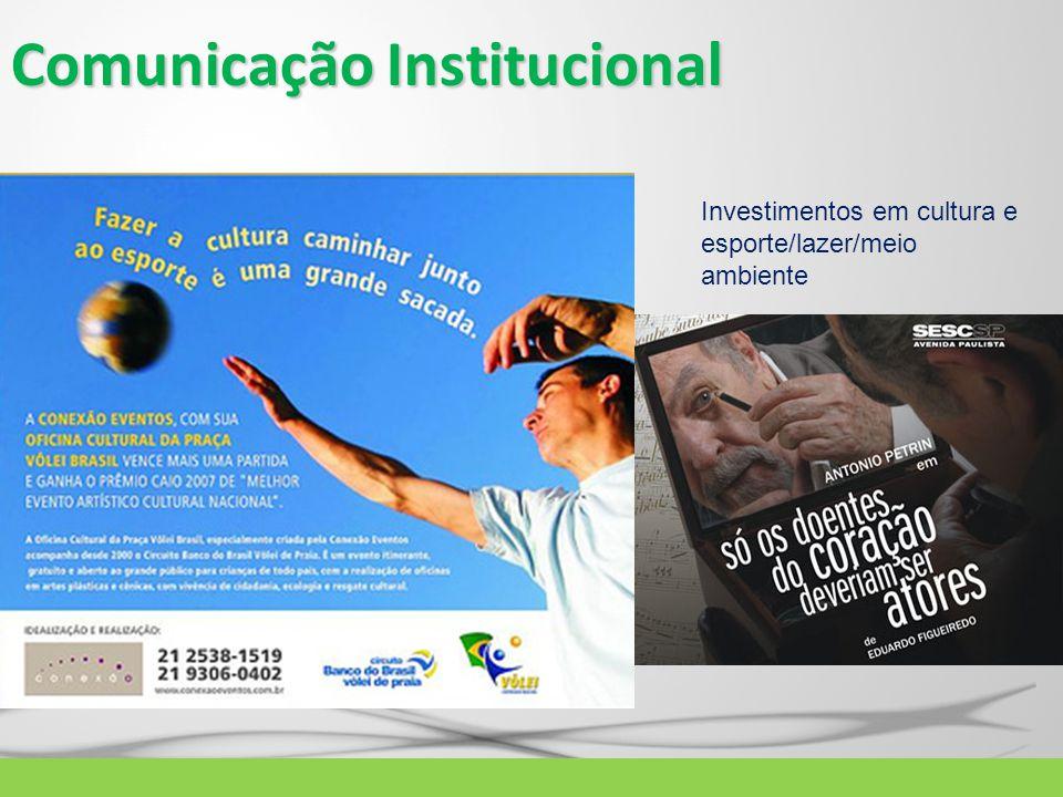 Comunicação Institucional Investimentos em cultura e esporte/lazer/meio ambiente