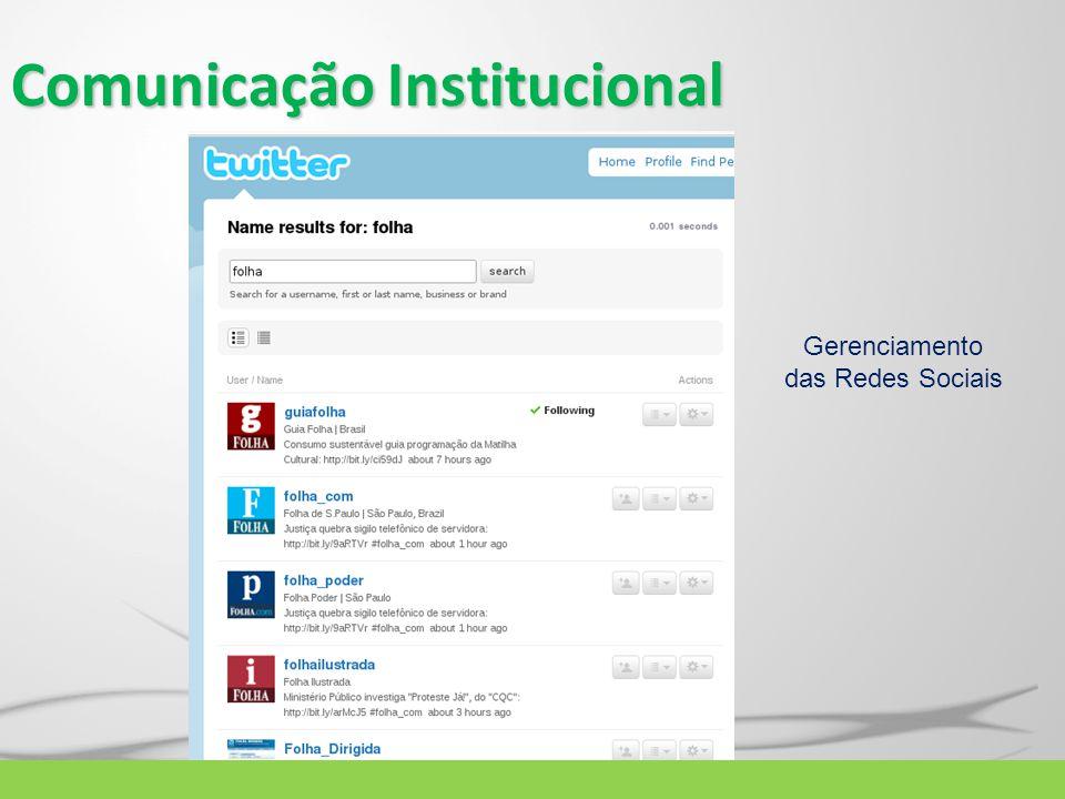 Comunicação Institucional Gerenciamento das Redes Sociais