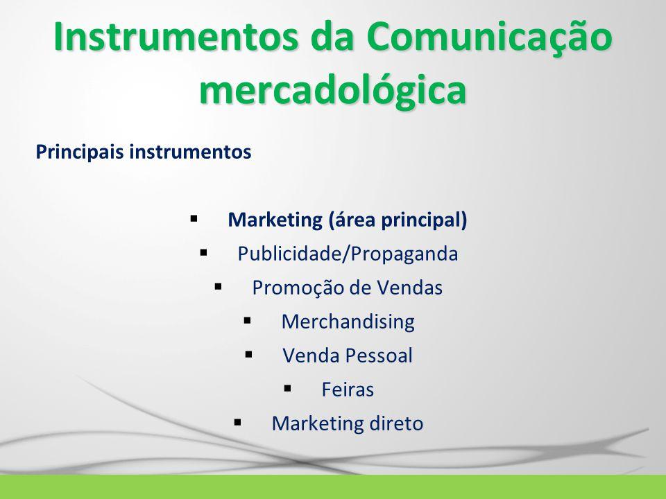 Instrumentos da Comunicação mercadológica Principais instrumentos  Marketing (área principal)  Publicidade/Propaganda  Promoção de Vendas  Merchan