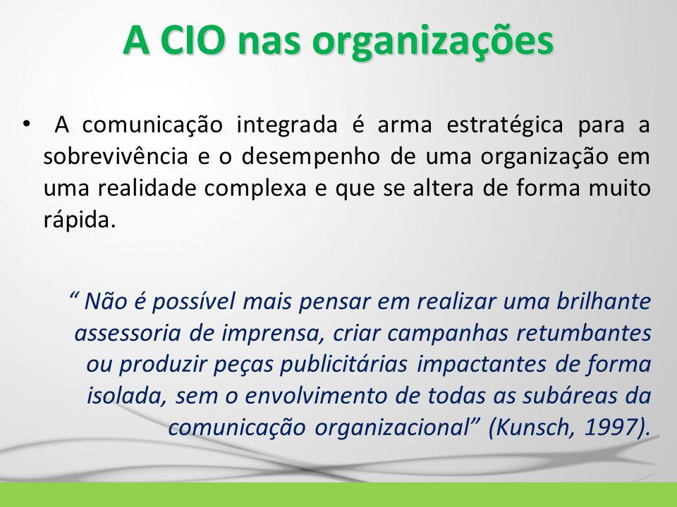 A CIO nas organizações A comunicação integrada é arma estratégica para a sobrevivência e o desempenho de uma organização em uma realidade complexa e q