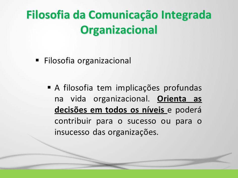 Filosofia da Comunicação Integrada Organizacional  Filosofia organizacional  A filosofia tem implicações profundas na vida organizacional. Orienta a