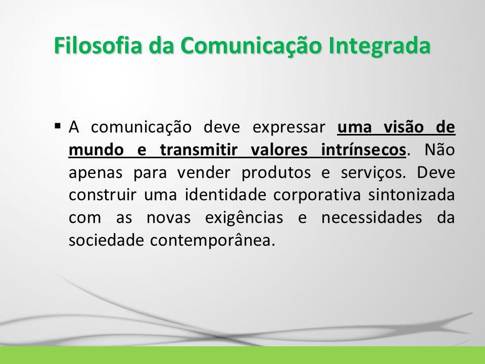 Filosofia da Comunicação Integrada  A comunicação deve expressar uma visão de mundo e transmitir valores intrínsecos. Não apenas para vender produtos
