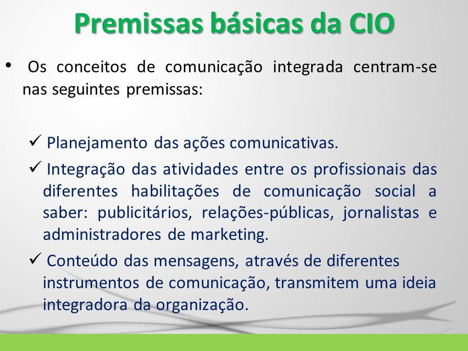 Premissas básicas da CIO Os conceitos de comunicação integrada centram-se nas seguintes premissas: Planejamento das ações comunicativas. Integração da