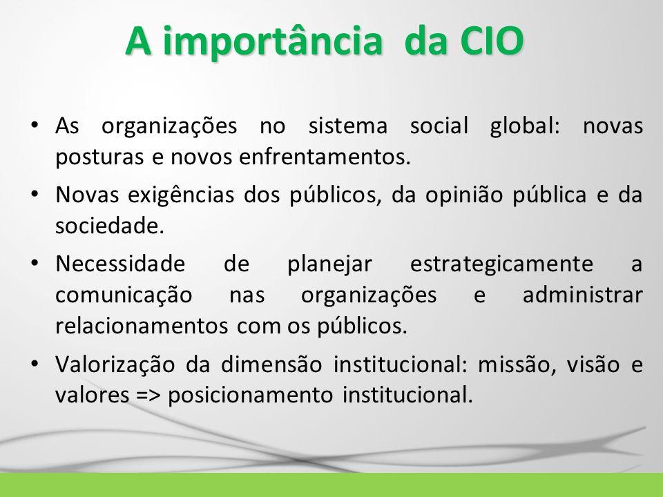 A importância da CIO As organizações no sistema social global: novas posturas e novos enfrentamentos. Novas exigências dos públicos, da opinião públic
