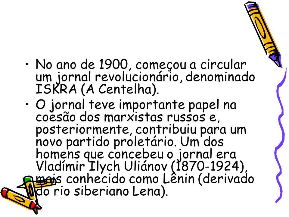 No ano de 1900, começou a circular um jornal revolucionário, denominado ISKRA (A Centelha). O jornal teve importante papel na coesão dos marxistas rus