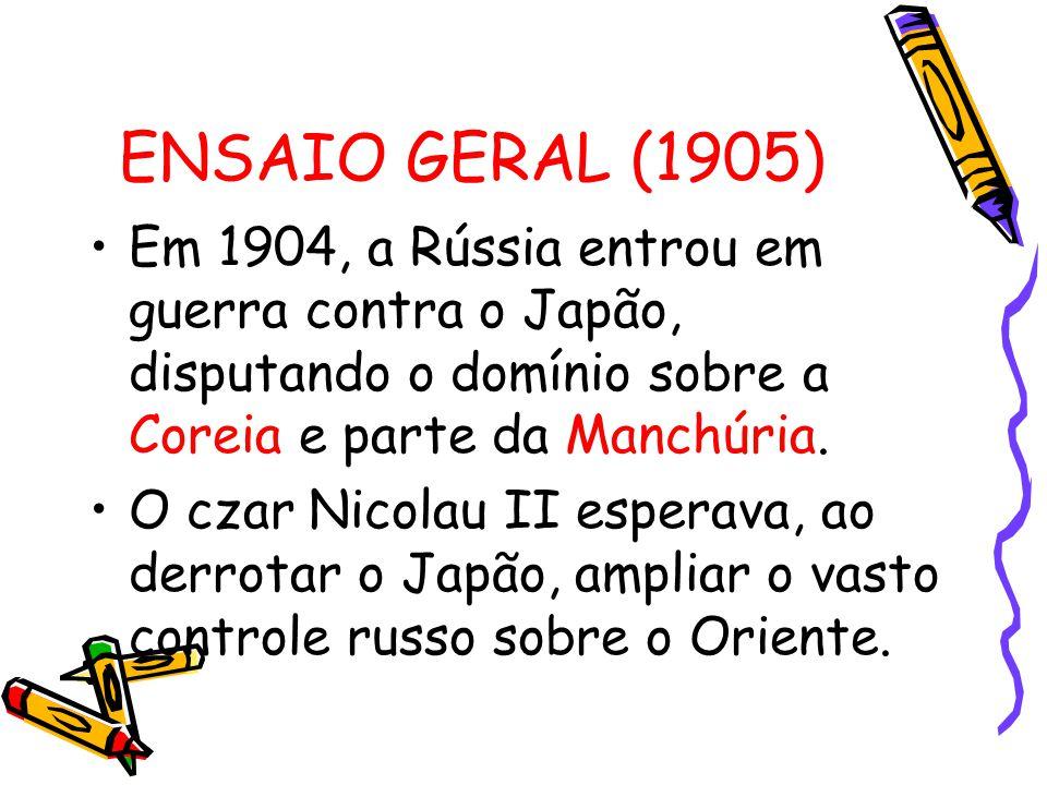ENSAIO GERAL (1905) Em 1904, a Rússia entrou em guerra contra o Japão, disputando o domínio sobre a Coreia e parte da Manchúria. O czar Nicolau II esp