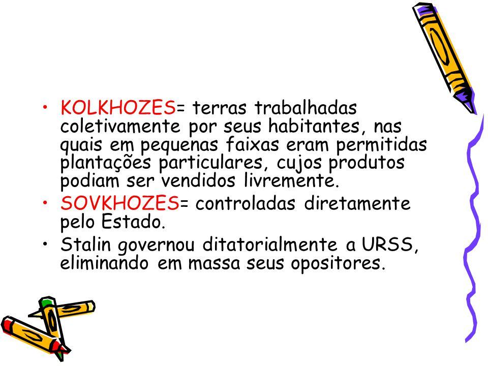 KOLKHOZES= terras trabalhadas coletivamente por seus habitantes, nas quais em pequenas faixas eram permitidas plantações particulares, cujos produtos