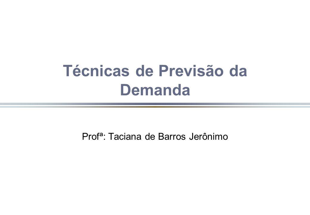 Técnicas de Previsão da Demanda Profª: Taciana de Barros Jerônimo