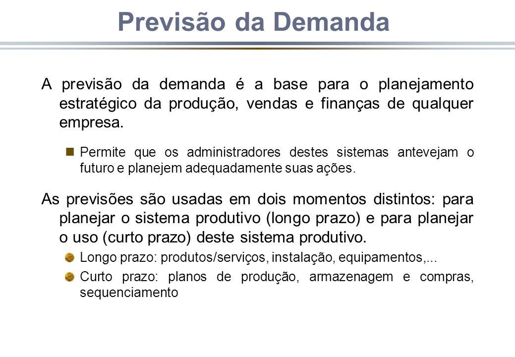 Previsão da Demanda A previsão da demanda é a base para o planejamento estratégico da produção, vendas e finanças de qualquer empresa. nPermite que os