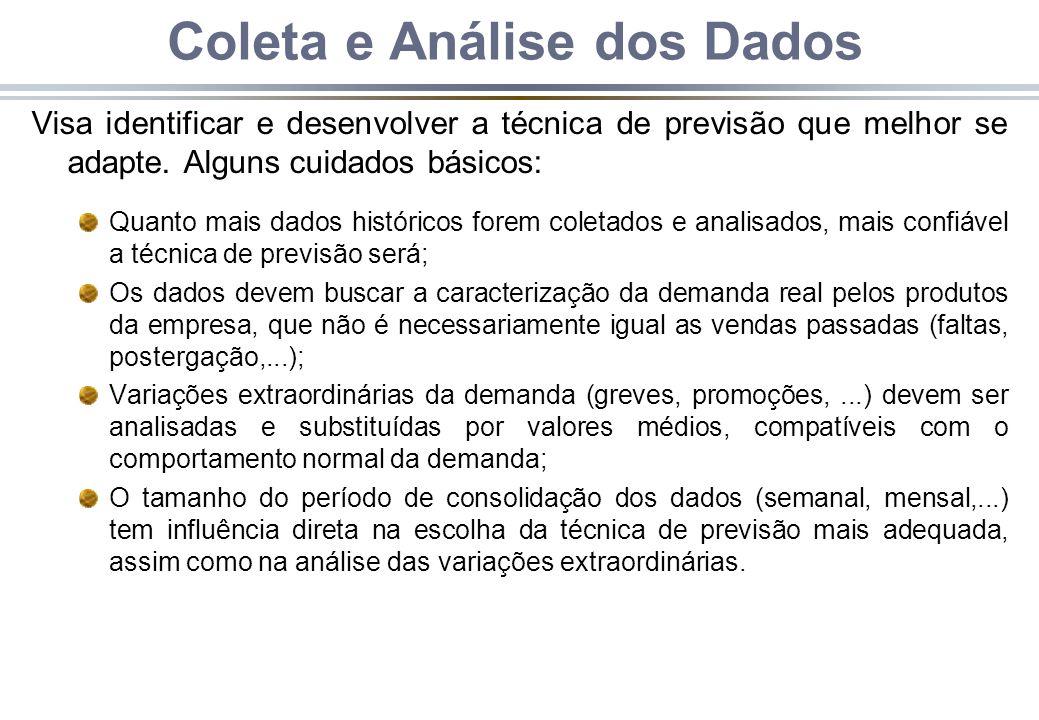 Coleta e Análise dos Dados Visa identificar e desenvolver a técnica de previsão que melhor se adapte.