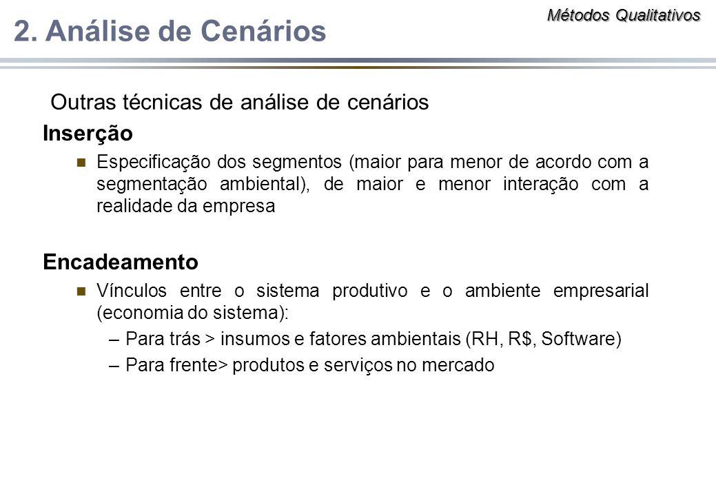 Inserção n Especificação dos segmentos (maior para menor de acordo com a segmentação ambiental), de maior e menor interação com a realidade da empresa
