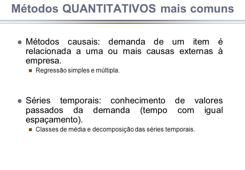 l Métodos causais: demanda de um item é relacionada a uma ou mais causas externas à empresa. n Regressão simples e múltipla. l Séries temporais: conhe