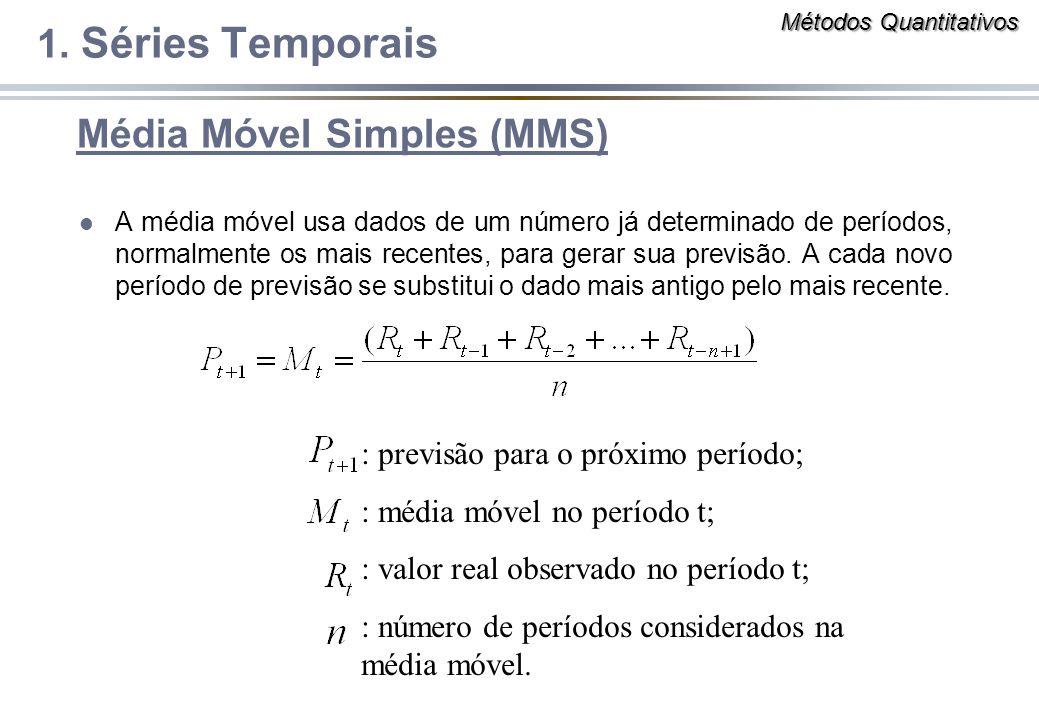 Média Móvel Simples (MMS) l A média móvel usa dados de um número já determinado de períodos, normalmente os mais recentes, para gerar sua previsão. A