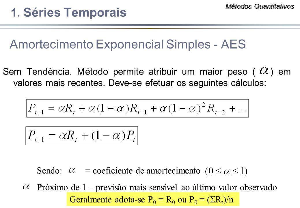 Amortecimento Exponencial Simples - AES Sem Tendência. Método permite atribuir um maior peso ( ) em valores mais recentes. Deve-se efetuar os seguinte