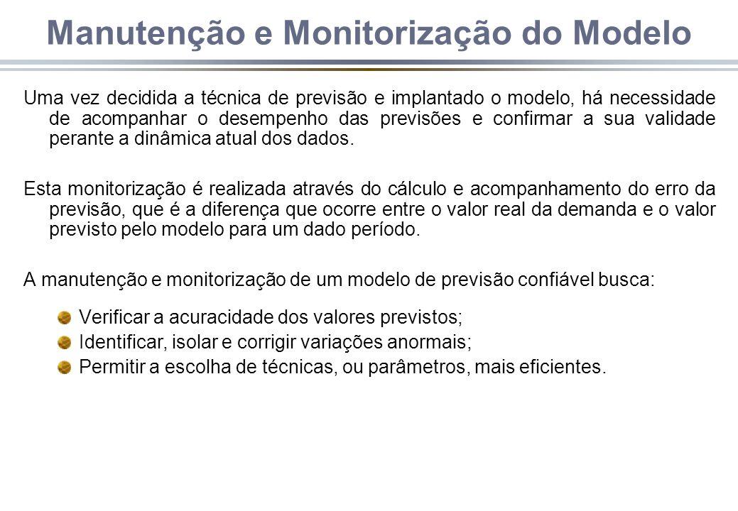 Manutenção e Monitorização do Modelo Uma vez decidida a técnica de previsão e implantado o modelo, há necessidade de acompanhar o desempenho das previsões e confirmar a sua validade perante a dinâmica atual dos dados.