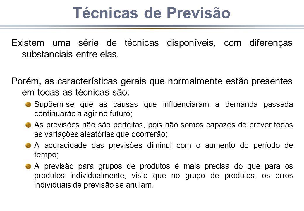 Técnicas de Previsão Existem uma série de técnicas disponíveis, com diferenças substanciais entre elas. Porém, as características gerais que normalmen