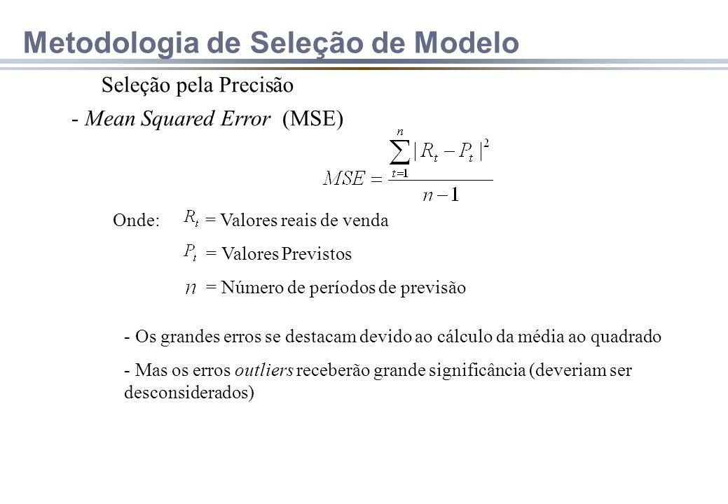 Seleção pela Precisão - Mean Squared Error (MSE) Onde: = Valores reais de venda = Valores Previstos = Número de períodos de previsão - Os grandes erros se destacam devido ao cálculo da média ao quadrado - Mas os erros outliers receberão grande significância (deveriam ser desconsiderados) Metodologia de Seleção de Modelo
