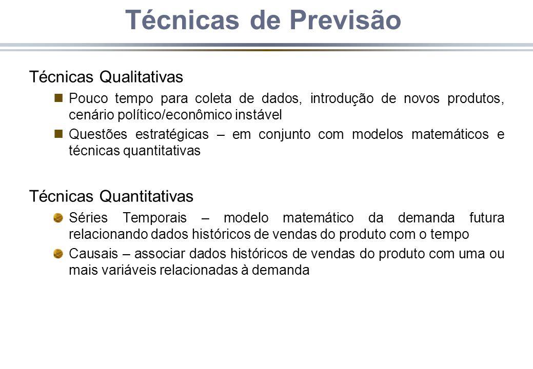 Técnicas de Previsão Técnicas Qualitativas nPouco tempo para coleta de dados, introdução de novos produtos, cenário político/econômico instável nQuest
